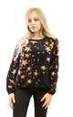 Long sleeve fluffy Jumper with Orange Star Print in Black by CY Boutique