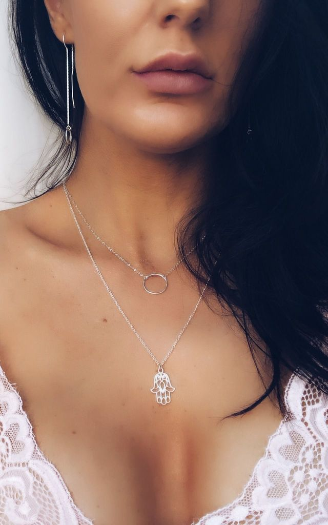 Silver Hamsa Hand / Hand of Fatima Necklace by Becky's Jewellery Boutique