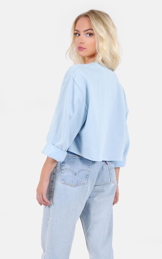 Pale blue oversized Crop Sweatshirt by The Left Bank