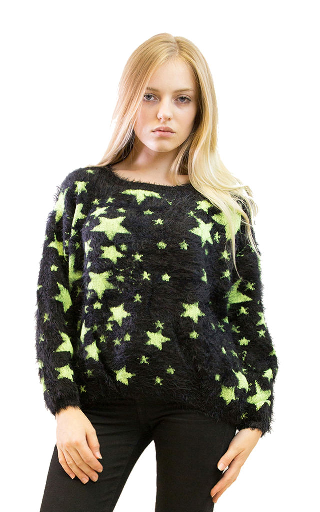 Long Sleeve Fluffy Jumper with Light Yellow Star Print in Black by CY Boutique