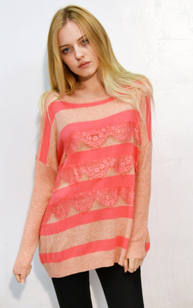 Knitted Jumper with Eyelash Lace Details in Pink Stripe by CY Boutique