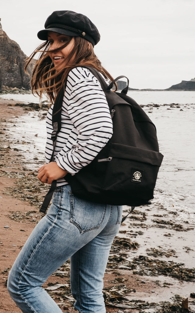 'Insignia' Logo Backpack in Black by ART DISCO
