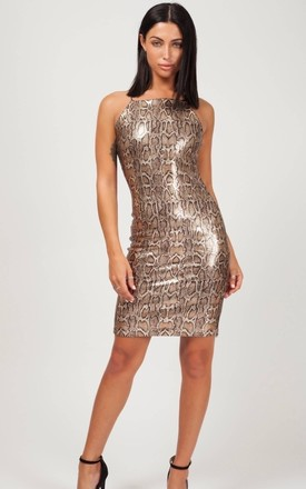 Sarai Leopard Sequin Cami Bodycon Dress In Gold by Vivichi