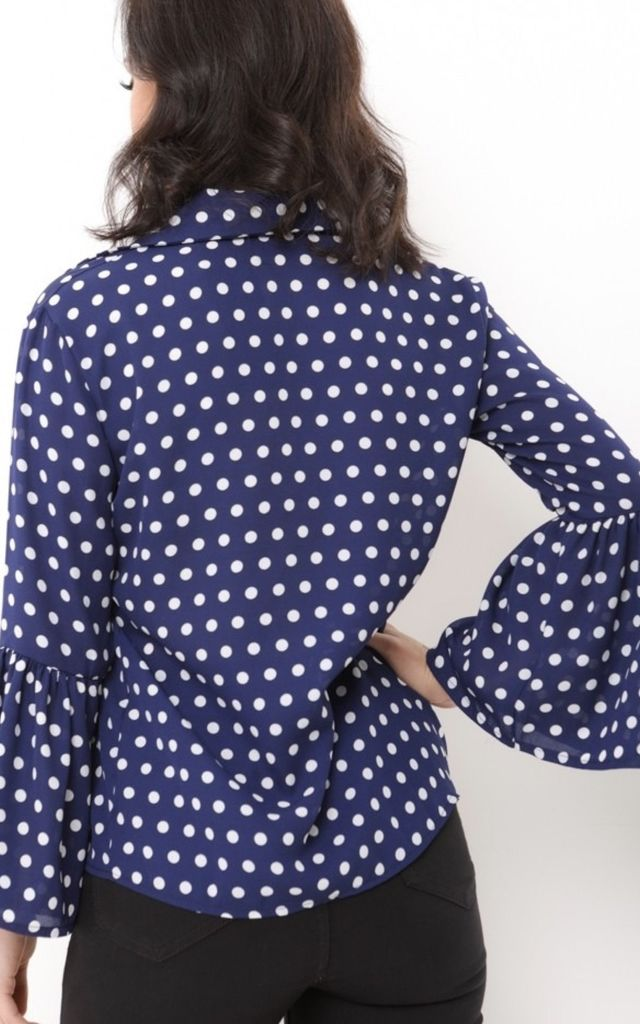 Angela Polka Dot Bell Sleeve Blouse In Navy Blue by Vivichi