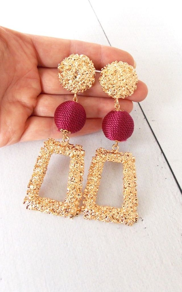 Gold and Burgundy Textured Style Statement Earrings by Olivia Divine Jewellery