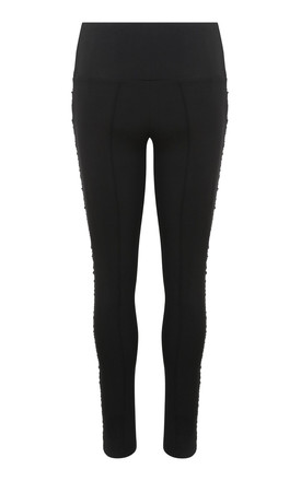 Black Waisted Side Ruche Panelled Trouser Leggings by Yan Neo London