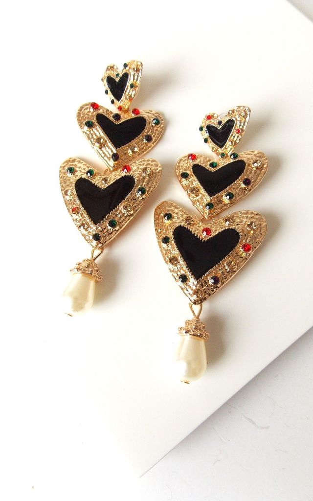 Black and Gold Three Tier Heart Statement Earrings by Olivia Divine Jewellery