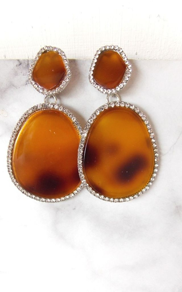 Brown Tortoise Shell and Crystal Resin Earrings by Olivia Divine Jewellery
