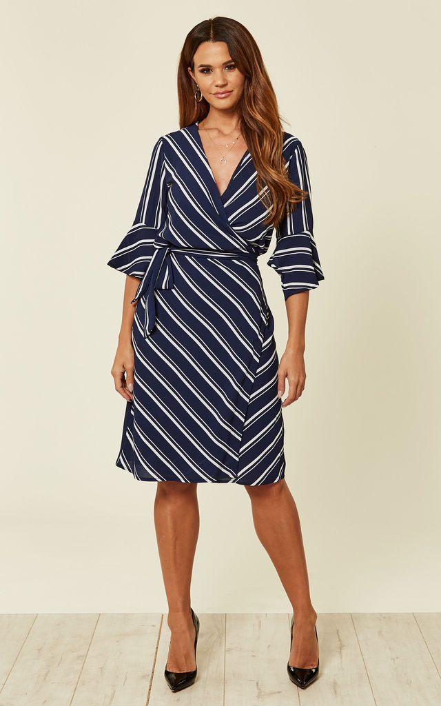 Striped Wrap Navy Dress by UNIQUE21