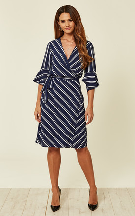 0095ce351e Striped Wrap Navy Dress