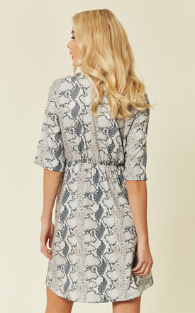 Tailored Button Front Snake Print Dress by UNIQUE21