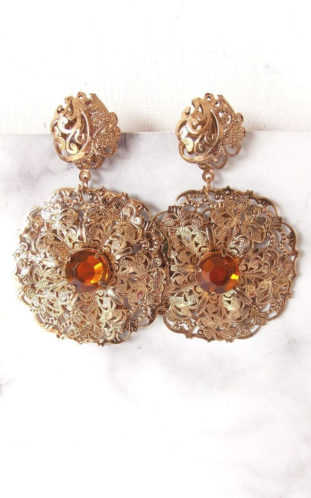 Bronze Baroque Style Earrings by Olivia Divine Jewellery