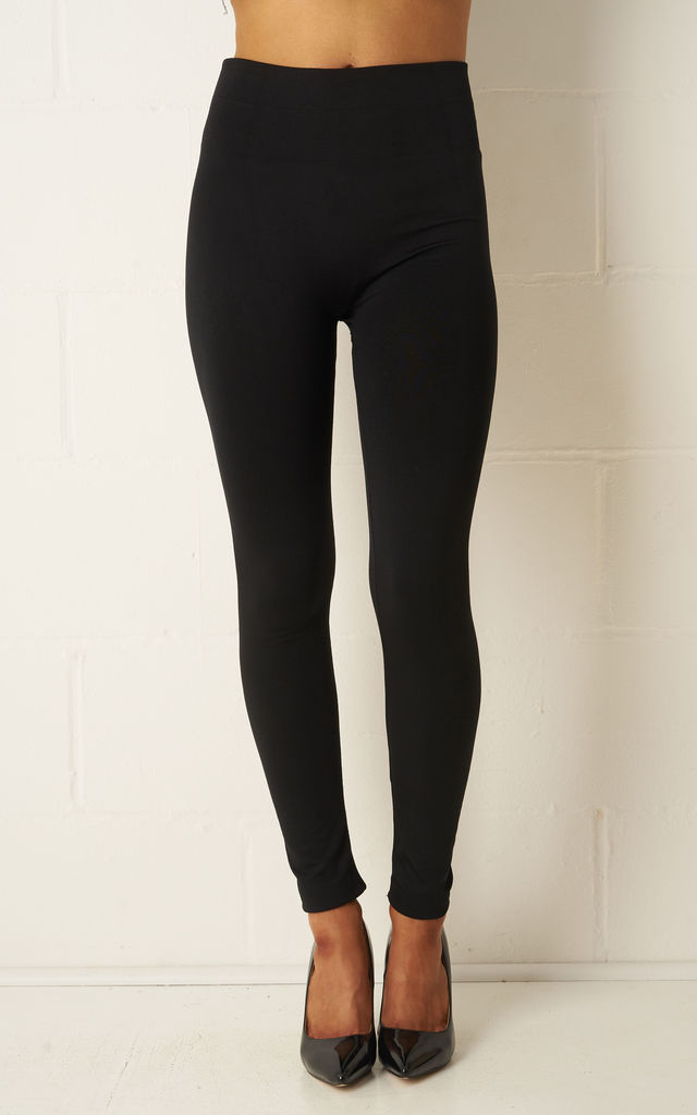 Sadie Black Thick Stretch High Waist Leggings by Frontrow Limited