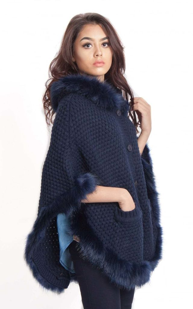 Navy Faux Fur Knitted Hooded Poncho Cape by Urban Mist