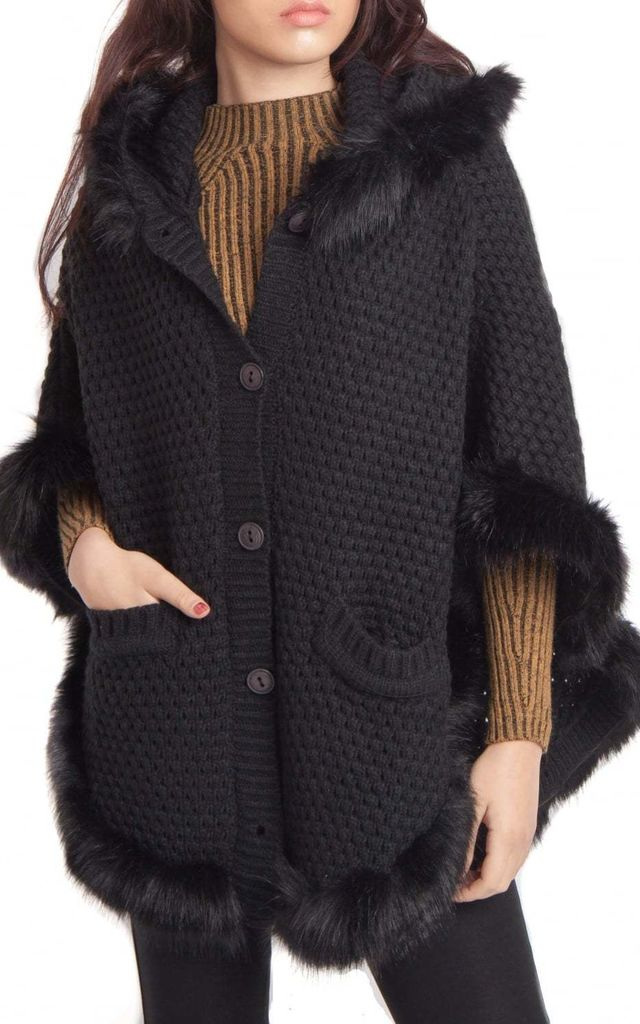 Black Faux Fur Knitted Hooded Poncho Cape by Urban Mist
