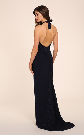 afa742a00b63 Isabella Navy Lace Halter Neck With Train Maxi Dress. £185.00. Alice One  Shoulder ...