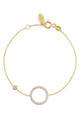 Gold Bracelet with SPARKLING HALO CIRCLE charm by Latelita