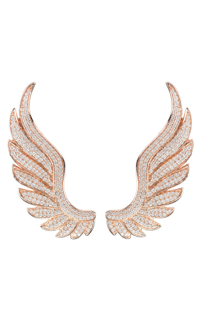 GABRIEL ANGEL WING EAR CLIMBER ROSE GOLD for LEFT EAR by Latelita London