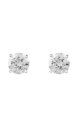 Solitaire Sterling Silver Earring Studs With White Zirconia by Latelita Product photo