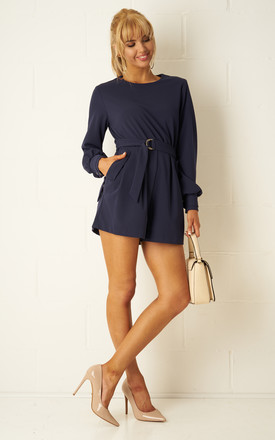 Sophyia Navy Long Sleeve Playsuit by Frontrow Limited