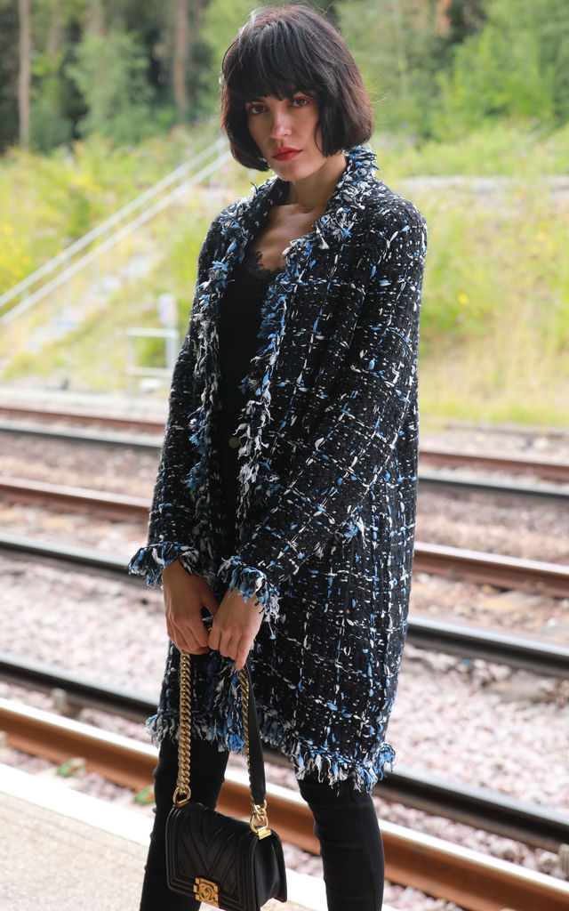 Long Knitted Jacket in Black and Blue Tweed Effect by CY Boutique