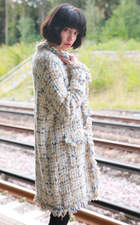 Long Knitted Jacket in White and Multicolour Tweed Effect by CY Boutique