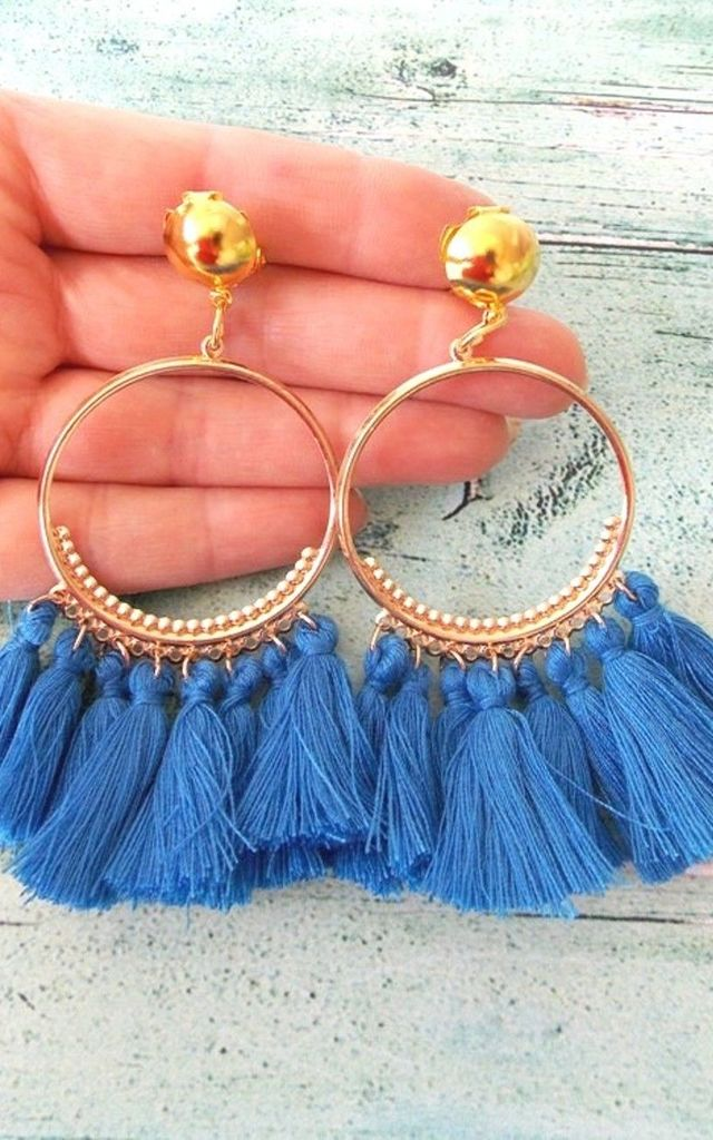 Blue Tassel Hoop Clip-On Earrings by Olivia Divine Jewellery