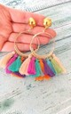 Multi-Coloured Tassel Hoop Clip-On Earrings by Olivia Divine Jewellery