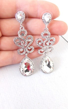 Silver Crystal Jewelled Floral Chandelier Statement Earrings by Olivia Divine Jewellery