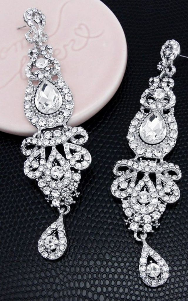 Over-Sized Silver Crystal Chandelier Statement Earrings by Olivia Divine Jewellery