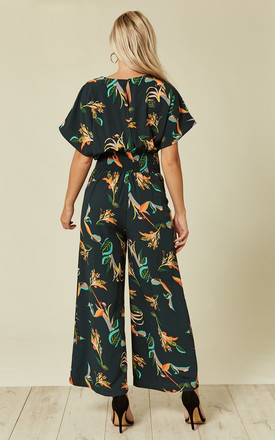 Green Tropical Print Jumpsuit by Liquorish