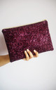 Glitter Clutch Bag in Plum by Suki Sabur Designs