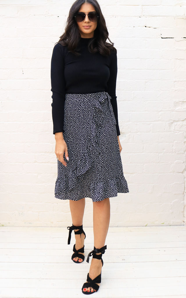 e169d81d8 Irregular Polka Dot Print Wrap Over Midi Skirt with Frill Hem in Black &  White by