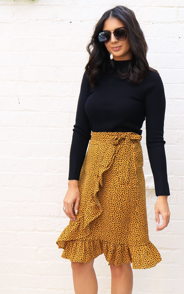Irregular Polka Dot Print Wrap Over Midi Skirt with Frill Hem in Mustard & Black by One Nation Clothing