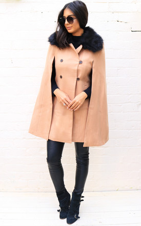 Fitted Double Breasted Wool Cape Coat with Fur Collar in Camel by One Nation Clothing