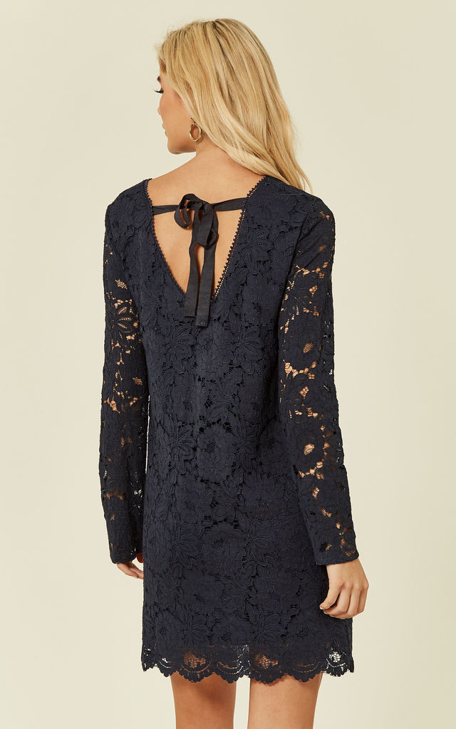 72d0a30e1cf Navy Lace Long Sleeves Dress by DIVINE GRACE