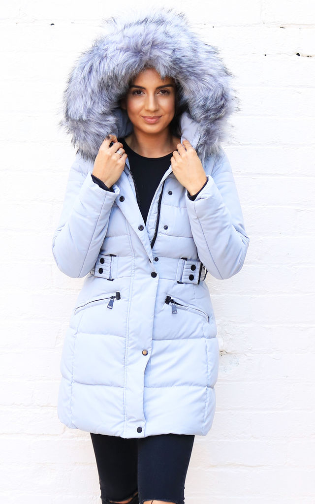 c0f4f0a9faa Mila Longline Quilted Hooded Puffer Coat With Oversized Faux Fur Trim &  Half Belt In Grey By One Nation Clothing