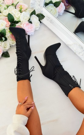 Lace up Stiletto Mid Boot - Black by AJ | VOYAGE