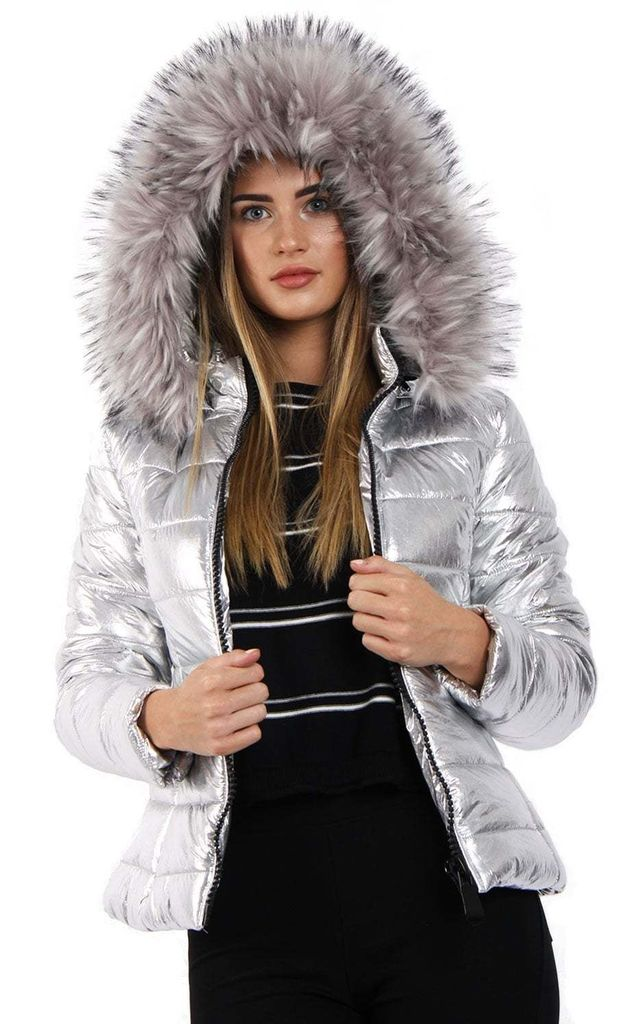 07477165863a9 Silver Grey Metallic Shine Faux Fur Puffer Coat Jacket | Urban Mist ...