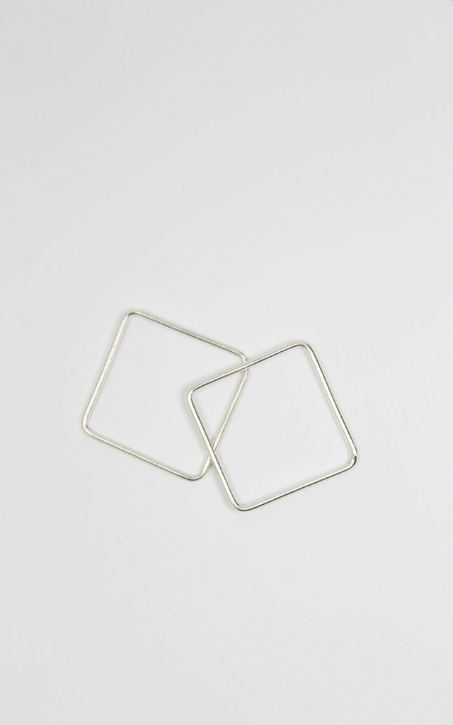 Set of two silver square rings by Alison Fern Jewellery