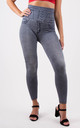 Grey Wash High Waisted Stretchy Full Length Legging by MISSTRUTH