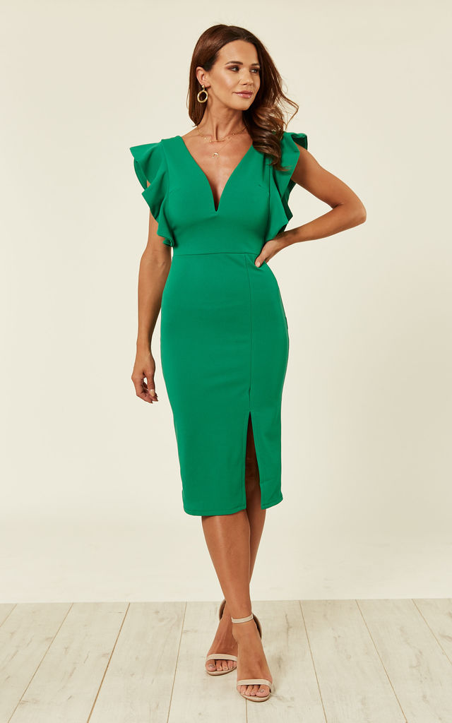 385b7e81e649 Green flutter sleeve midi dress by WalG