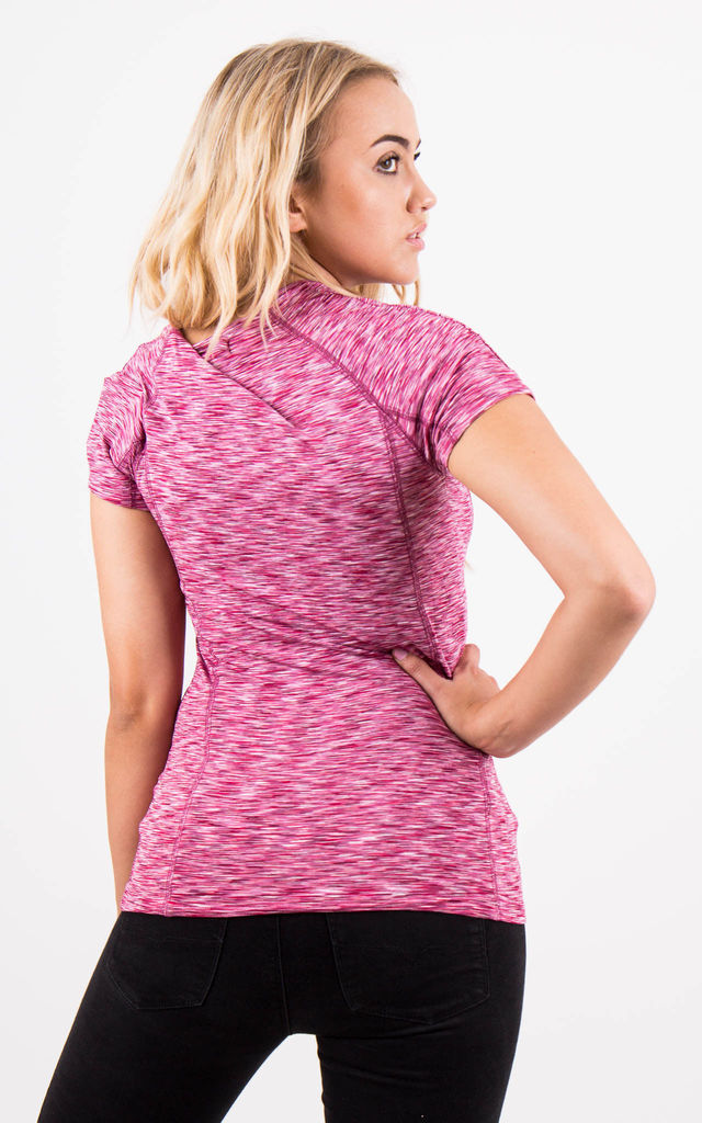 Pink Fitness Short Sleeve Fitted Sporty Stretch Top by MISSTRUTH