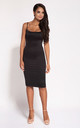Black Bodycon Back Zip Knee Length Dress by Dursi