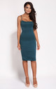 Bottle Green Bodycon Back Zip Knee Length Dress by Dursi
