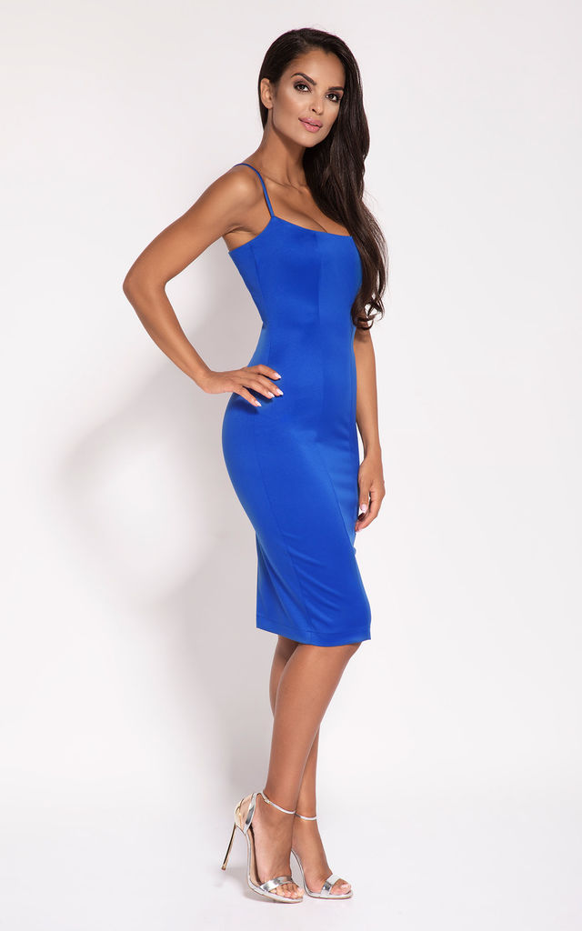 Cobalt Blue Bodycon Back Zip Knee Length Dress by Dursi