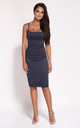 Navy Bodycon Back Zip Knee Length Dress by Dursi