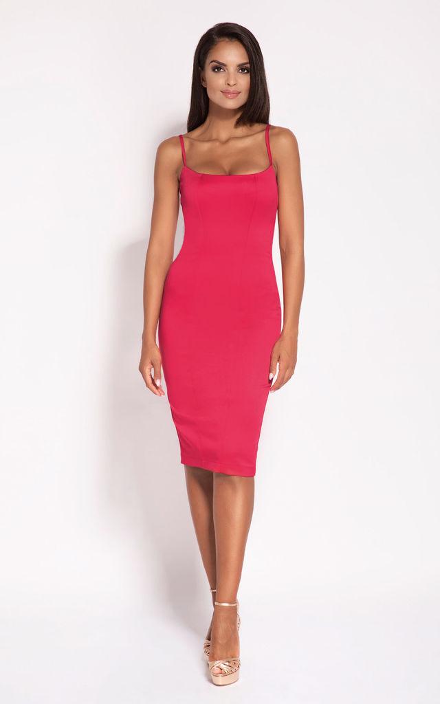 Raspberry Bodycon Back Zip Knee Length Dress by Dursi