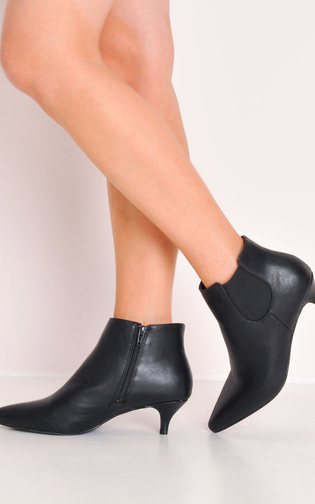 Faux Leather Kitten Low Heel Pointed Chelsea Ankle Boots Black by LILY LULU FASHION
