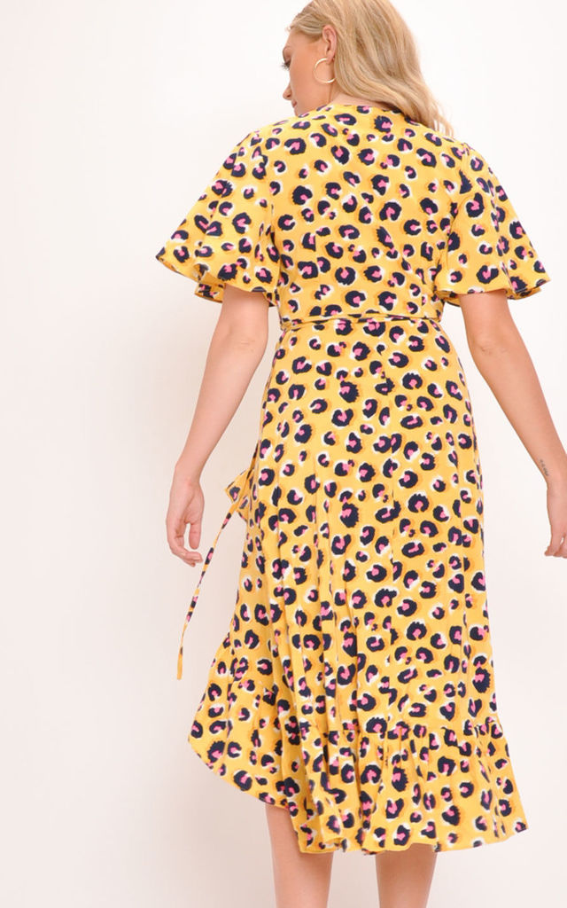 Leopard Print Wrap Front Midi Dress Yellow by LILY LULU FASHION
